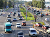Warsaw traffic congestion — Stock Photo