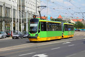 Green tram in Poznan — Stock Photo
