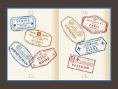 旅行邮票 — 图库矢量图片