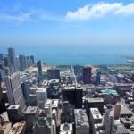 City skyline with Lake Michigan. — Stock Photo