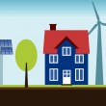 Renewable energy home — Stock Vector