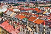 Old townscape and railroad tracks seen from famous Nuselsky Most — Stock Photo