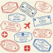 Passport stamp set — Vettoriale Stock #34848085
