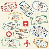 Travel stamps — Stockvektor