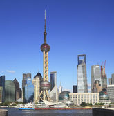 Lujiazui Finance&Trade Zone of Shanghai skyline at city landscap — Stock Photo