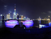 Shanghai Pudong cityscape at night viewed from the Bund — Stock Photo