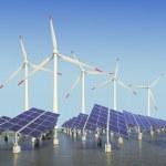 Solar energy panels and wind turbine — Stock Photo #19740313
