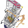 Puppetry models pushing many shopping carts — Stock Photo