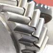 Strong steel gear close-up — Stock Photo