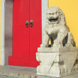 The Ancient stone lion of Chinese temple — Stock Photo
