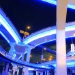 Shanghai highway viaduct urban viaduct at night — Stock Photo