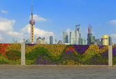 Shanghai bund landmark skyline at New city landscape — Stock Photo
