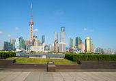 Lujiazui Finance&Trade Zone of Shanghai bund landmark skylin — Stock Photo