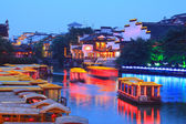 Nanjing Confucius Temple and the boat on the River — Stock Photo