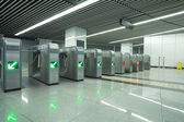 Interior of the modern architectural at subway turnstile gate — Stock Photo