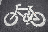 Bicycle pattern printed on the road — Stock Photo