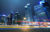 Megacity Highway at night dusk light trails in shanghai — Stock Photo