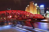 šanghaj bund zahradní most v noci — Stock fotografie
