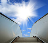 Modern architecture steps of moving business escalator and stair — Stock Photo