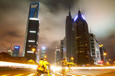 The street scene in shanghai Lujiazui at night,China — Foto Stock