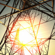 The power transmission towers of sky background — Foto Stock