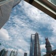 Look up modern urban office buildings in Shanghai — Stockfoto