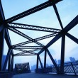 Steel structure bridge close-up at night landscape — Stock Photo
