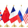 Flag of China France Russia UK USA — Stock Photo