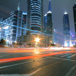 Megacity Highway at night with light trails in shanghai — Stock Photo