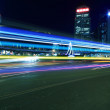 City Ring highway light trails night in Shanghai — Stock Photo