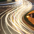 Stock Photo: City ring road light trails night