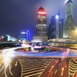 Stock Photo: Dazzling rainbow overpass highway night scene in Shanghai