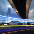 Long exposure shooting highway night busy street in Shanghai — Stock Photo