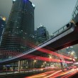 Stock Photo: Urban at night with traffic and night skyline in shanghai