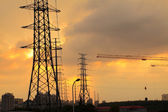 The afterglow of transmission tower — Stock Photo