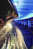 Ring elevated highway light trails night scene — Stock Photo