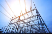 Look up high-voltage power tower — Stock Photo
