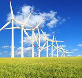 Rice farms Modern wind turbines — Stock Photo