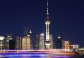 Shanghai bund skyline at New night city landscape — Stock Photo