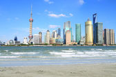 Lujiazui Finance&Trade Zone of Shanghai landmark skyline at New — Stockfoto