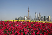 šanghaj bund mezník panorama v nové město krajina — Stock fotografie