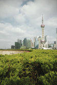 Shanghai bund landmark skyline at city landscape — Stock Photo