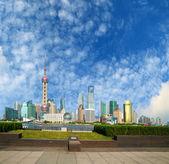 Lujiazui Finance&Trade Zone of Shanghai bund landmark skylin at — Stock Photo