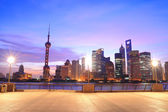 Shanghai Pudong cityscape at dawn viewed from the Bund — Stock Photo