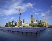 Shanghai Bund skyline landmark at Ecological energy Solar panel — Stock Photo