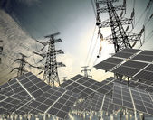 Power transmission tower and Solar panel in the green — Stock Photo
