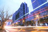 Megacity Highway at night dusk light trails in shanghai — Stock Photo