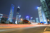 Shanghai Lujiazui night view city scenery — Stok fotoğraf