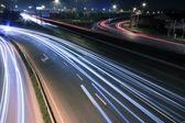 View dusk urban night traffic on the highway — Stock Photo