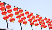 Chinese lanterns hanging queue — Stock Photo